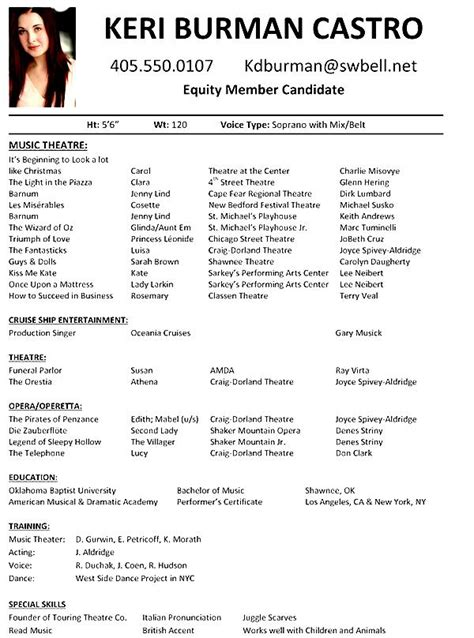 musical resume template musical theatre resume exles free sles exles