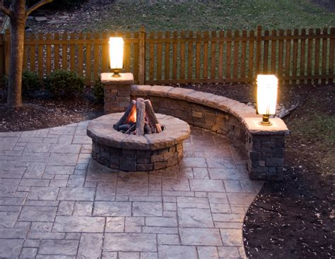 Gas Patio Lights Sted Concrete Patio Gas Pit Walls And Lighting Traditional Patio Kansas