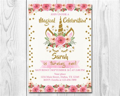 unicorn birthday invitation unicorn floral birthday invitation unicorn unicorn birthday invitation magical unicorn invite floral