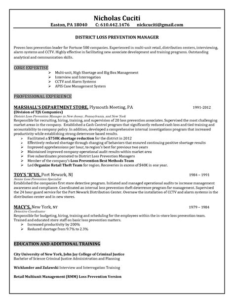 resume objective exles loss prevention sle retail resume objectives sle resume for teachers