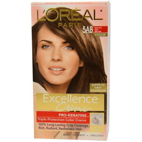 loreal excellence hair color ash excellence creme pro keratine 5ab mocha ash brown
