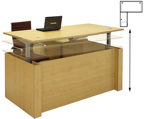 adjustable height executive desk adjustable height u shaped executive office desk w hutch