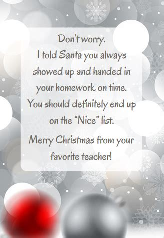christmas messages from teachers to students exles