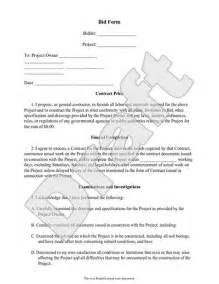 bid document template bid form bid template for contractor construction
