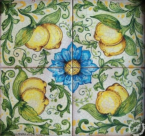 Handmade Italian Tiles - wall floor tile panel lemons handmade in sicily