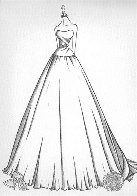 Wedding Dress Sketch   Wedding Dress Ink
