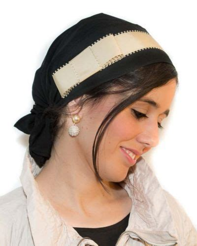 black headscarf tichel golden band scarves for chemo