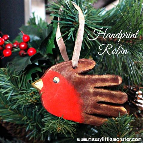 handprint robin ornament messy  monster