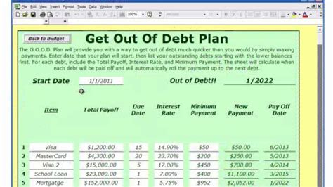 Snowball Debt Reduction Spreadsheet Spreadsheets Debt Reduction Template