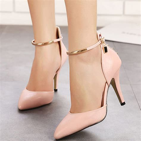 closed toed high heels fashion pointed closed toe metal decoration stiletto