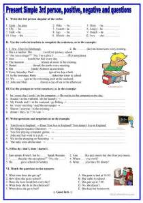 27 free esl present simple 3rd person worksheets