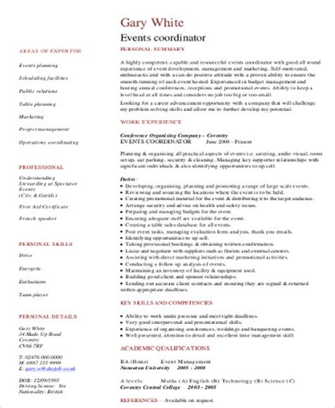 Event Hostess Sle Resume by Sle Event Coordinator Resume 8 Exles In Word Pdf