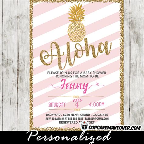 Pink Black And White Baby Shower Invitations by Gold Pineapple Baby Shower Invitations Pink And White
