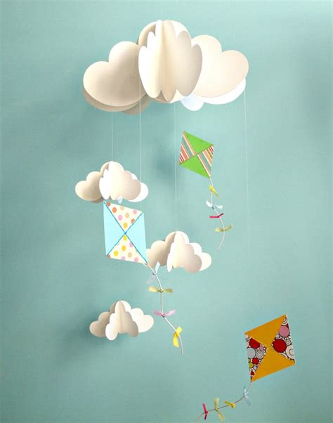 Paper Mobiles To Make - kite mobile baby mobile nursery mobile hanging paper 3d