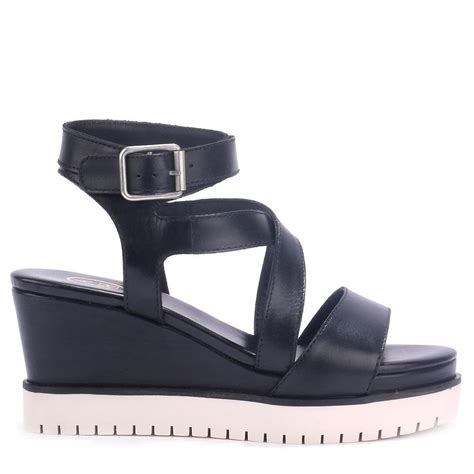 ash peps bis black leather mid wedge sandals ash from