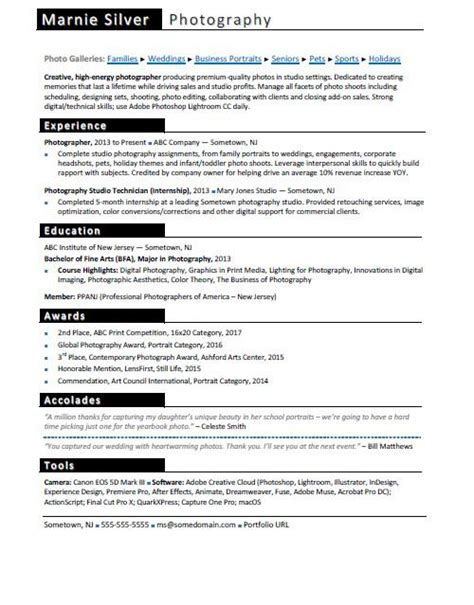 photographer resume sle