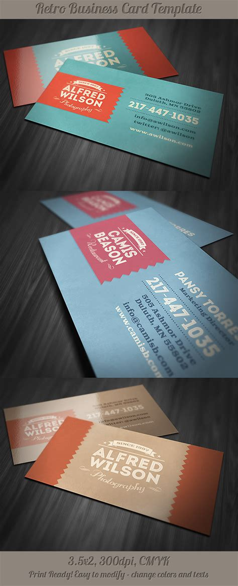 behance business card template 6 retro business cards on behance