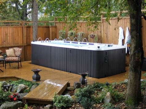 Zen Small Backyard Ideas Back Yard With Swim Spa Cfbde Backyard Spa Ideas