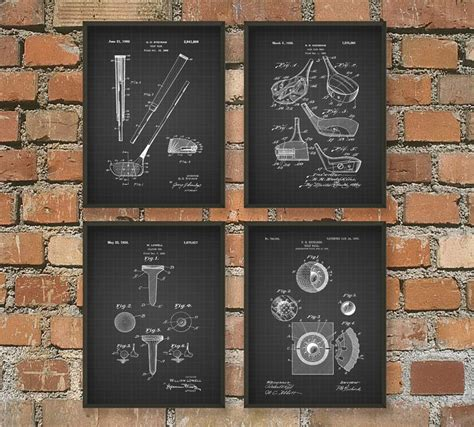 golf home decor golf patent wall art poster set of 4 pga golf home decor