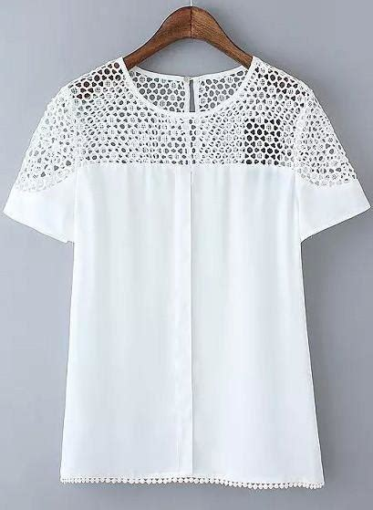 white sleeve floral crochet blouse from augustine s