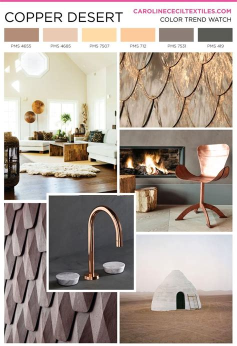 2017 color trends and inspiration for interior design trend inspiration copper textiles fashion mood board