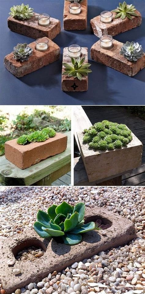 Diy Brick Planter by Diy Succulent Planters Of Used Bricks So And Clever Line A Walkway This Way Rm