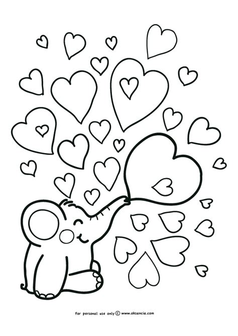 elephant love coloring page elephant with hearts coloring pages pinterest