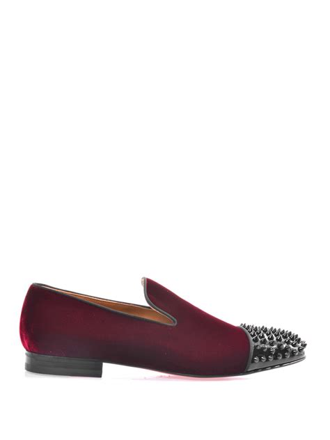 christian louboutin studded loafers christian louboutin spooky studded velvet loafers in