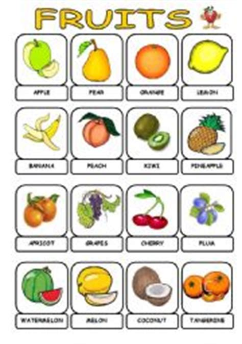 fruit dictionary teaching worksheets fruits