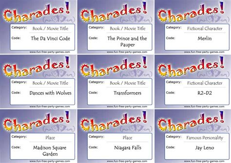 printable charades cards ideas for charades by fun free party games