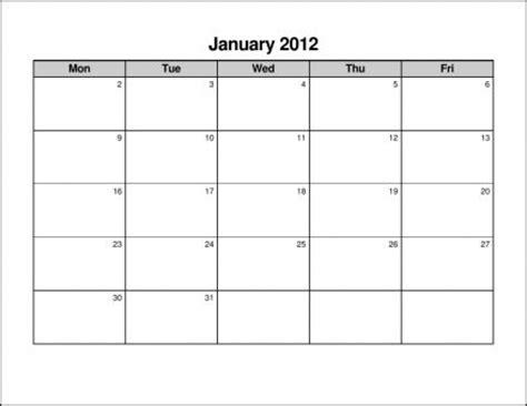 Print A Calendar Com Monday Thru Sunday Free Calendar Template Free Monday Through Friday Calendar Template
