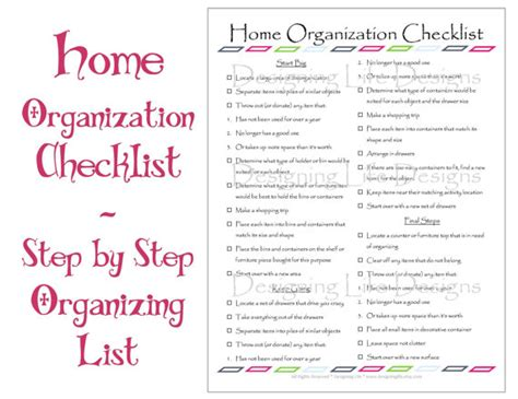 organize my house checklist home organization checklist pdf printable basic by