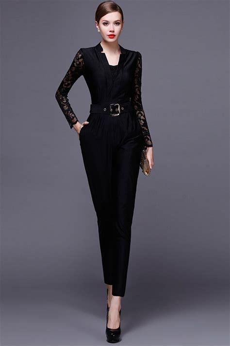 Jumpsuit Dress black jersey lace sleeve formal occasion evening jumpsuit