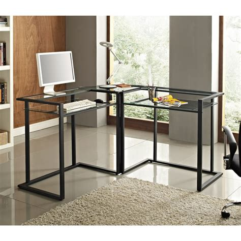 Glass And Metal Corner Computer Desk Glass And Metal C Frame Corner Computer Desk Black Walmart