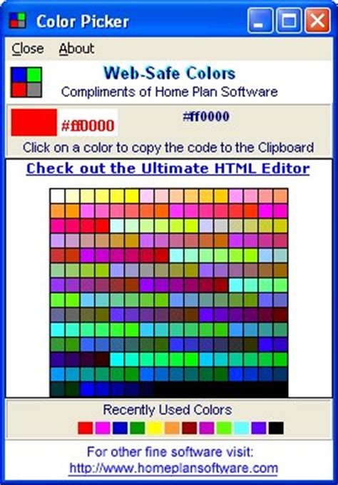 web safe colors with the color picker