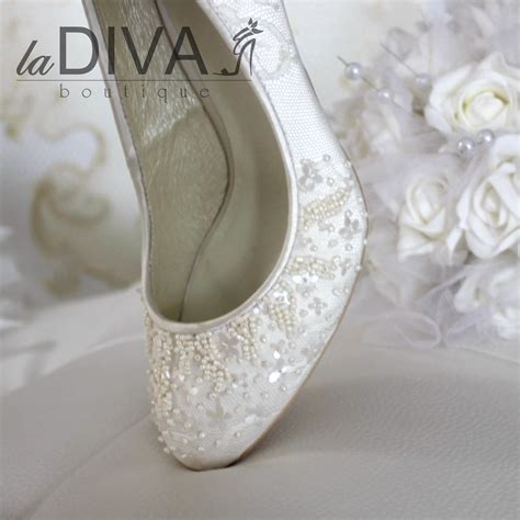 Weiße Schuhe Damen Hochzeit by Menbur Pumps Bridal Shoes Lace Beaded Sequin Ivory