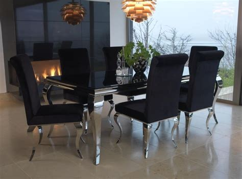 dining table chairs set of 6 buy vida living louis black glass top dining set 200cm