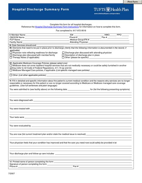 best photos of hospital discharge papers printable pdf