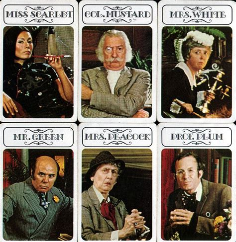 Suspects Original Board 1972 clue characters clue
