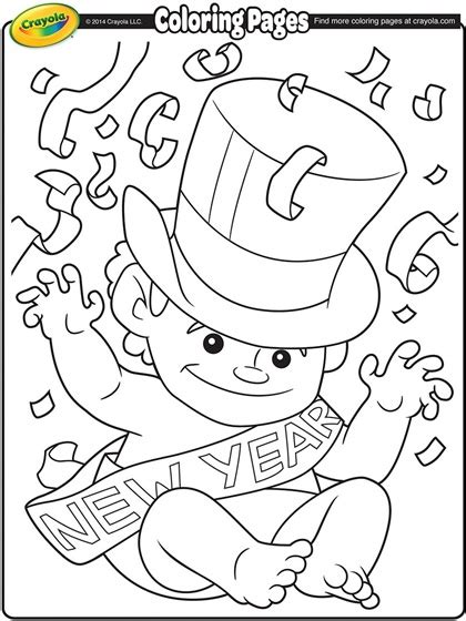 new year s eve coloring pages free printable baby new year coloring page crayola com