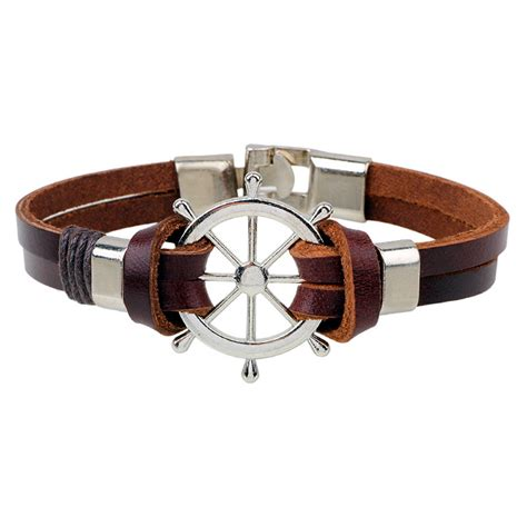 Handmade Mens Leather Cuff Bracelets - fashion cuff charm leather rudder anchor bracelet
