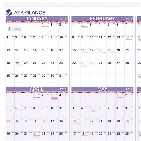 at a glance yearly wall calendar 2015 24 x 36 inch page