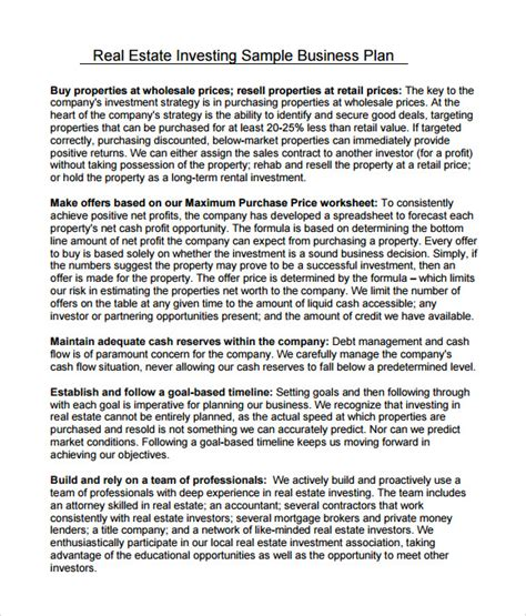 Investor Business Plan Template sle real estate business plan template 6 free
