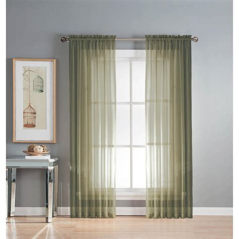 sheer elegance curtains window elements sheer sheer elegance 84 in l rod pocket