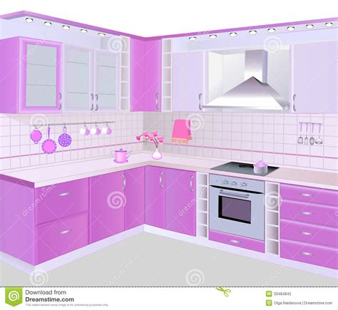 Pink Tiles Kitchen by Kitchen Interior With Pink Furniture And Tiles Stock