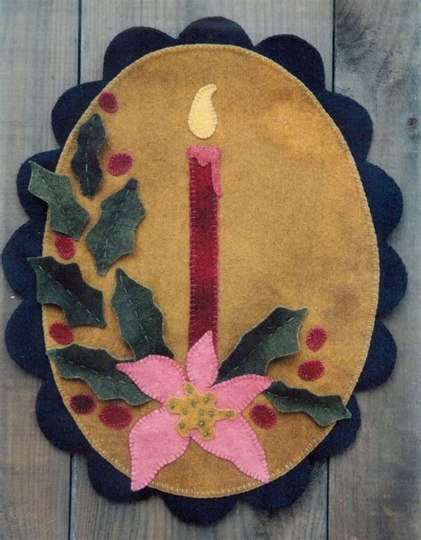 wool rug patterns primitive wool rug pattern candle poinsettia light new ebay