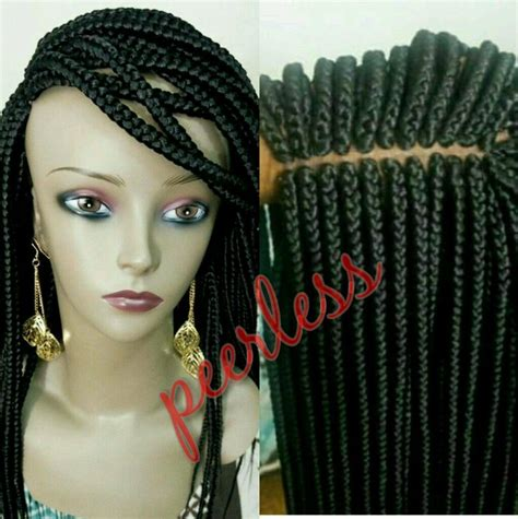 wigs to wear with braids fully hand braided lace front box braid wig color 1 and