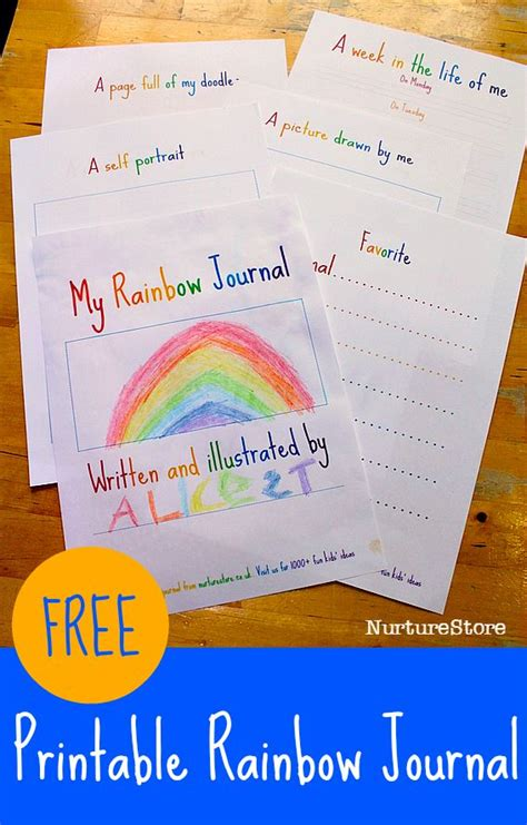 theme in literature prompt rainbow theme free printable journal pages for kids