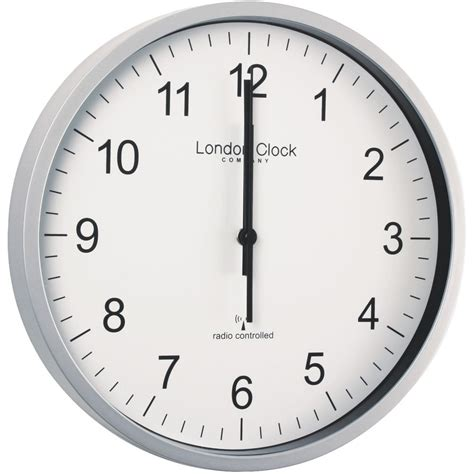 radio controlled silver office wall clock 30 5cm