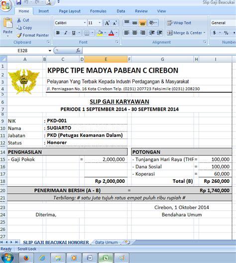 contoh format gaji honorer slip gaji honorer